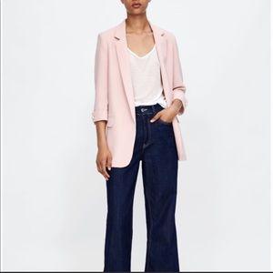 NWOT ZARA Pink Blazer Pearl Buttons size XS